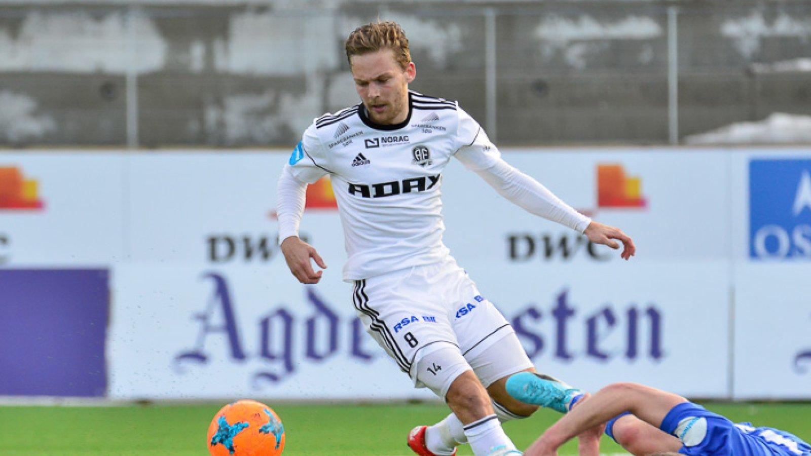 Rasmus Lynge Christensen i cupen mot Fløy der han scoret to mål.