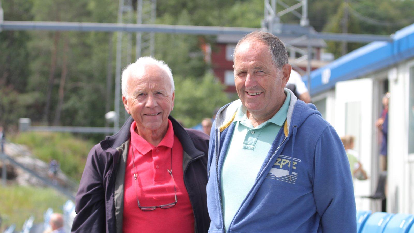 """Jan Thorsland og Peder """"Brannmann"""" jobber både for ØIF Arendal og Arendal Fotball."""