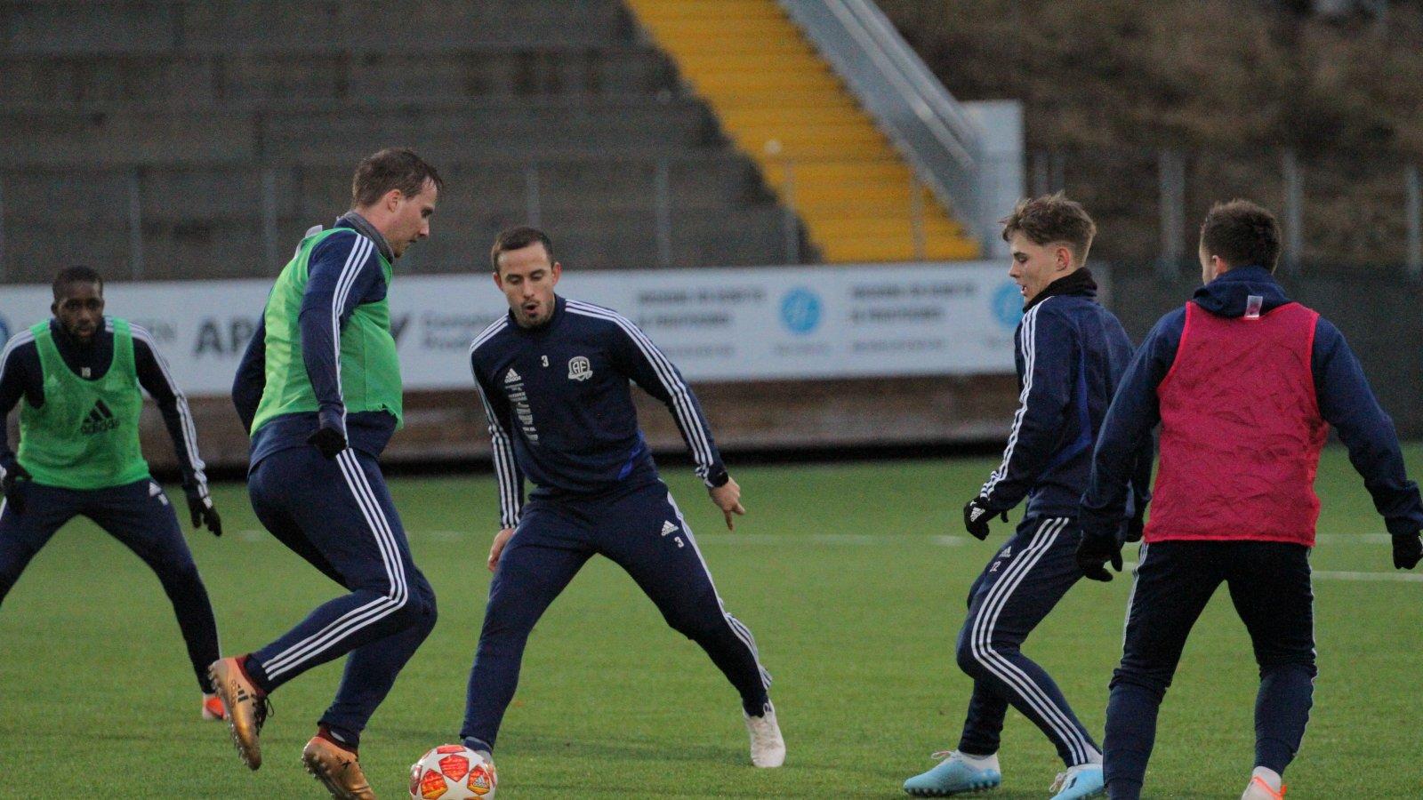 Sune Kiilerich, Dejan Corovic, Magnus Madsen og Kim Kvaalen (med ryggen til) på sesongens første trening 6. januar 2020.