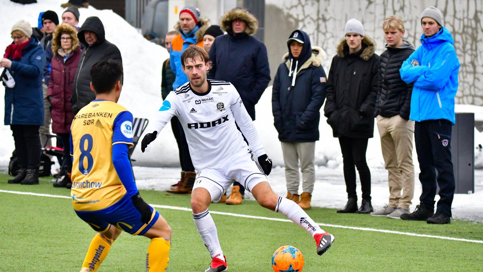 Mads Nørby Madsen i treningskampen mot Jerv 8. februar 2018.